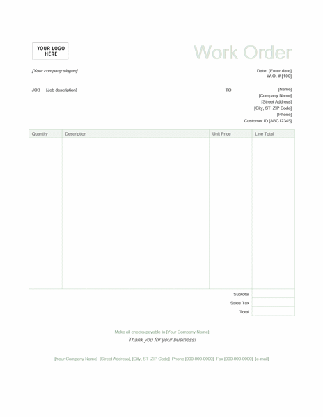 Work order (Green design)