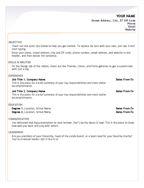 entry level resume - Ms Word Resume Template Free