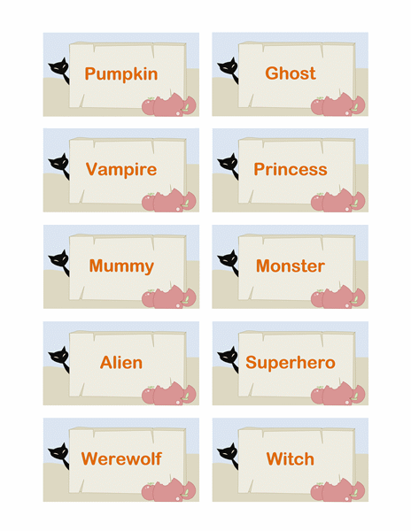 Halloween Party Place Cards Or Gift Tags (10 Per Page)