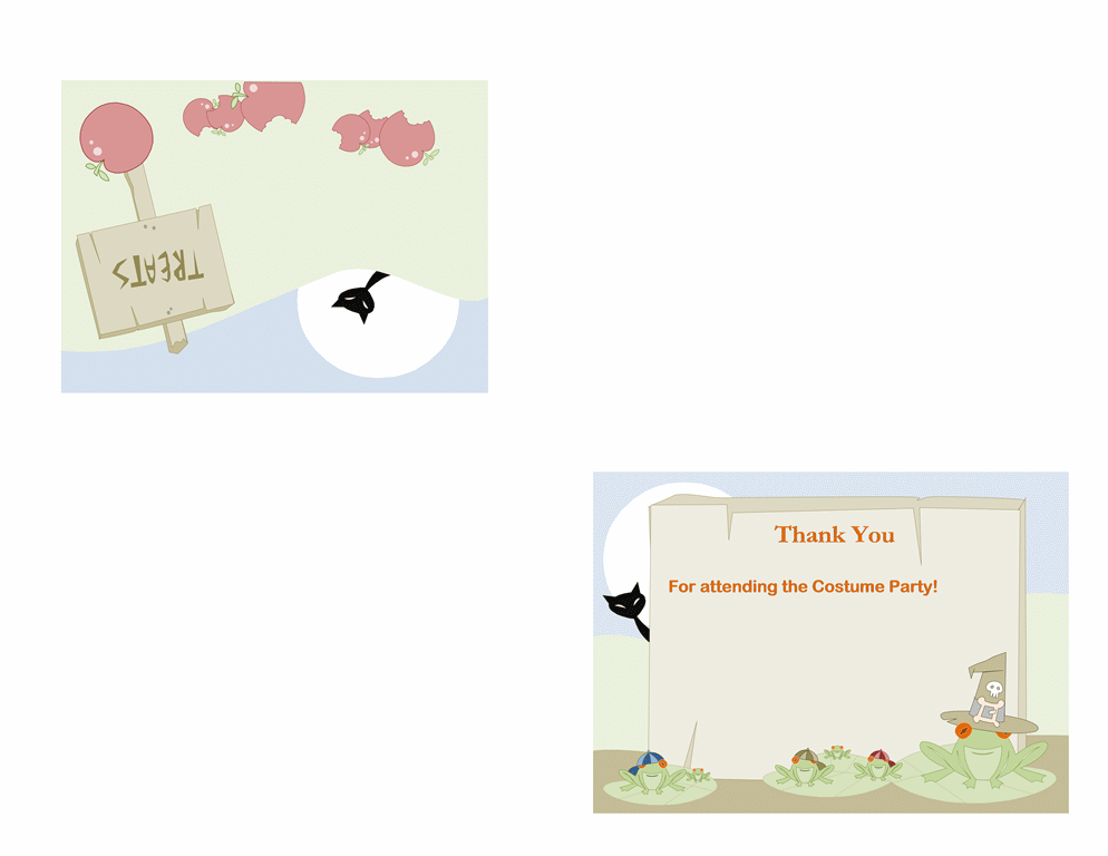 Halloween Thank You Card (quarter Fold)  Microsoft Thank You Card Template