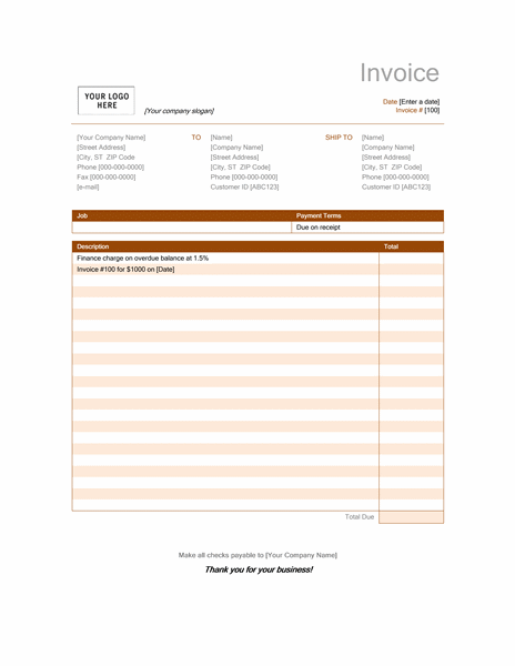High Quality Finance Charge (Rust Design)  Invoice Word Template Free