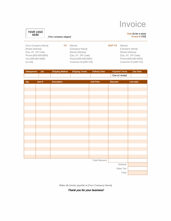 Sales invoice (Rust design)