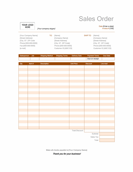 Invoices Office – Sales Order Forms Templates Free