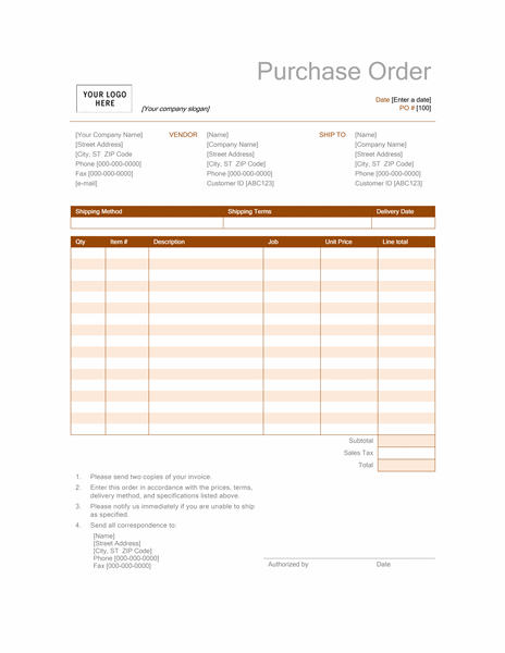 Purchase Order (Rust Design)  Generic Purchase Order