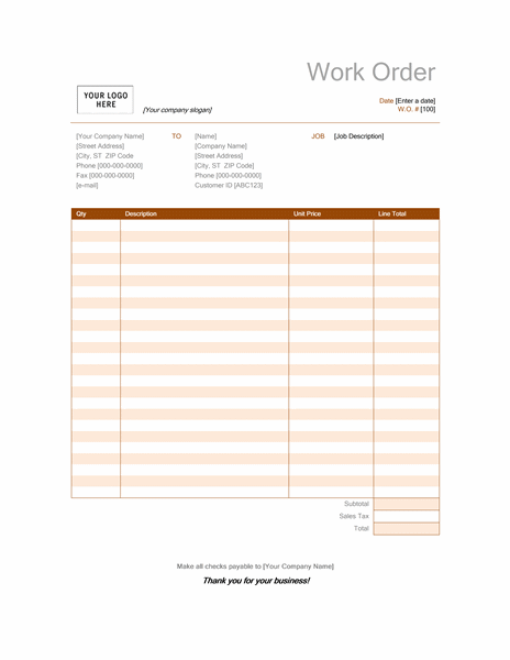 work order log template