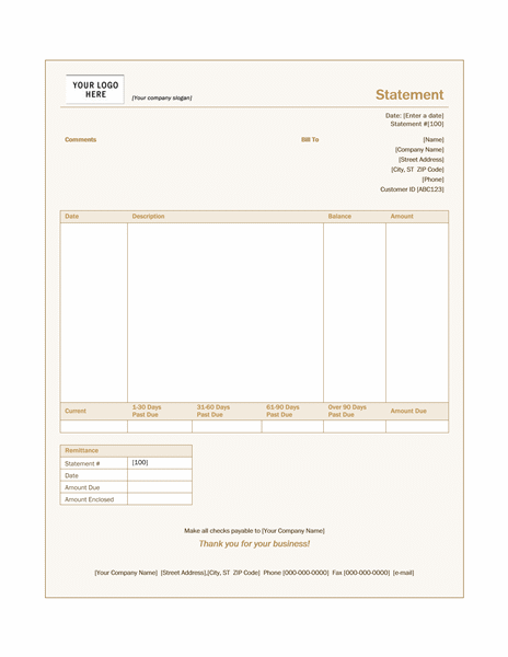 Billing Statement (Sienna Design)  Billing Spreadsheet Template