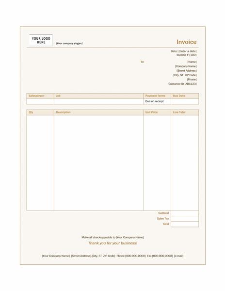 Service invoice (Sienna design)