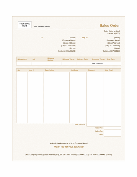 Invoices Office – Sample Sale Order Template