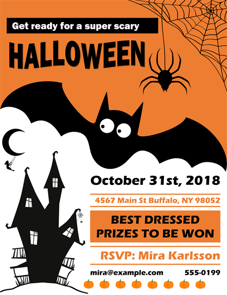 Spooky bat Halloween party flyer