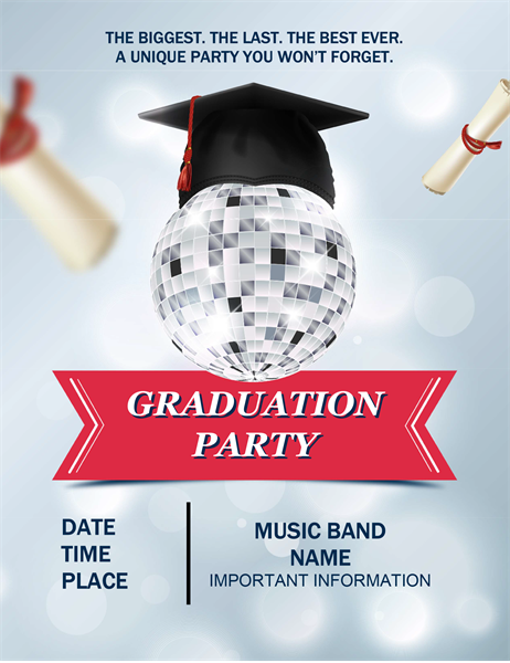 Disco ball graduation party flyer