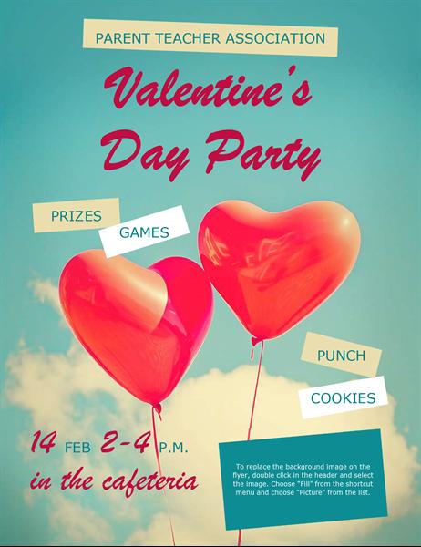 Heart balloons Valentine's flyer