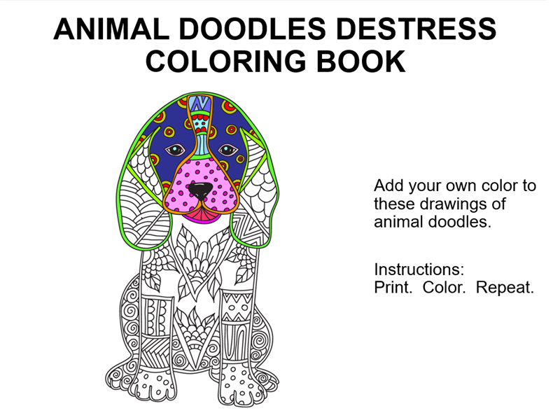 Animal doodles destress coloring book