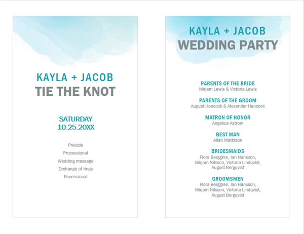 Water color wash wedding program