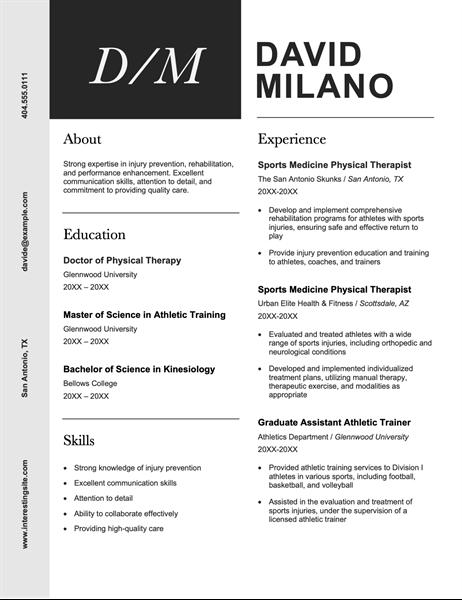 Modern initials resume