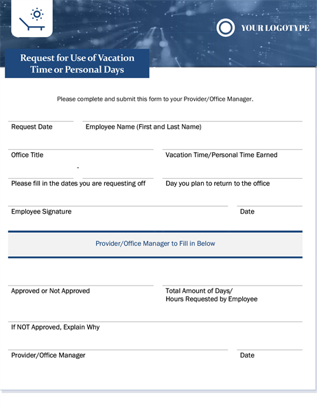 Small business employee vacation request form
