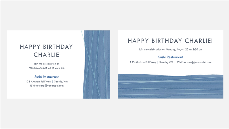 Blue ribbon party invitations (two per page)