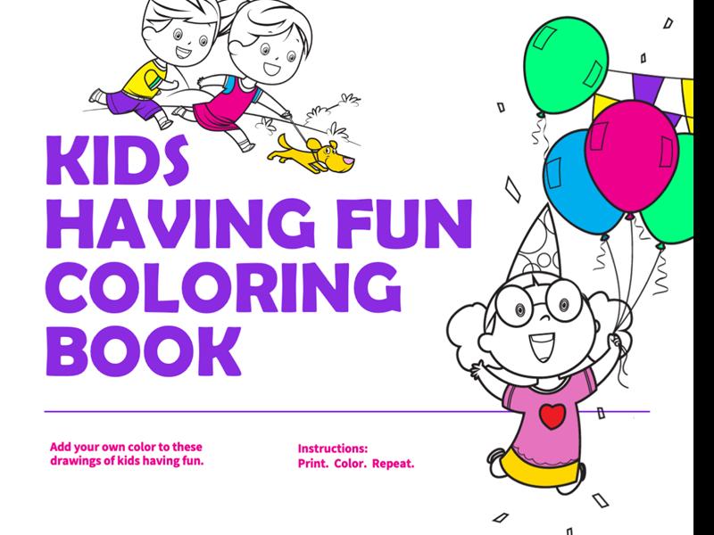 Kids having fun coloring book