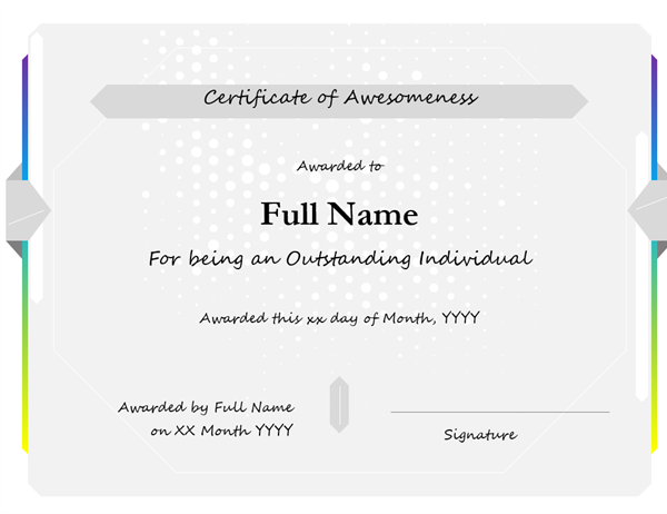 Certificate of awesomeness