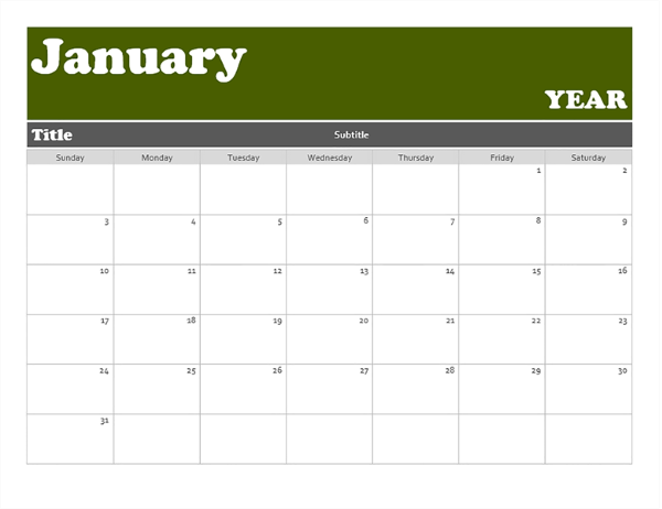 Banner calendar - Office Templates