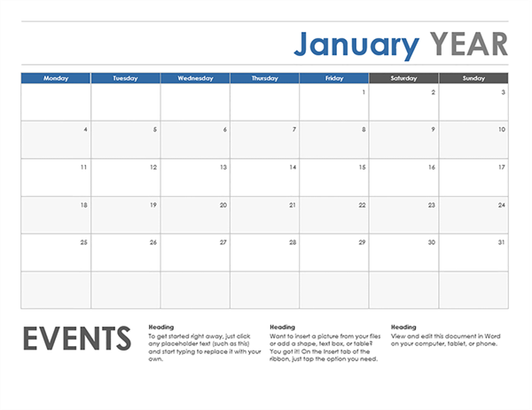 Elegant Horizontal Calendar (Monday Start) Pertaining To Monthly Calendar Word Template