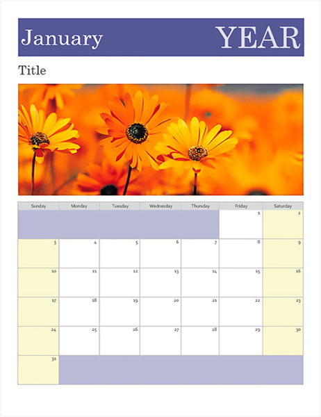 calendars for word