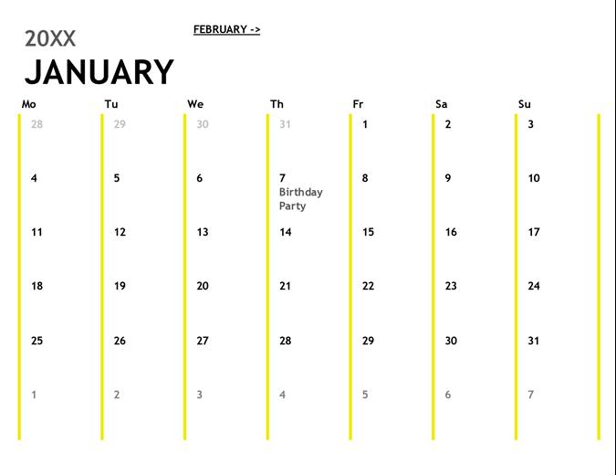 Calendars Office – Blank Monthly Calendar