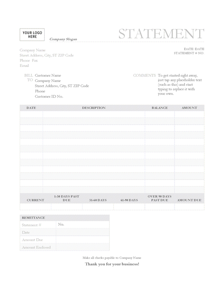 Billing statement (Garamond Gray design)