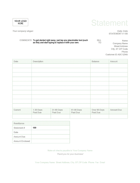 Billing Statement (Green Design)  Bill Statement Template