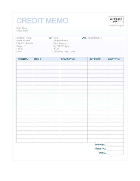 Credit Memo (Blue Background Design)  Tax Invoice Template Excel