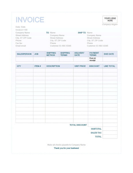 Sales Invoice (Blue Background Design)  Office Receipt Template