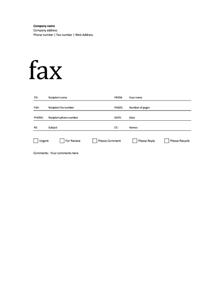 Wonderful Example Fax Cover Sheet