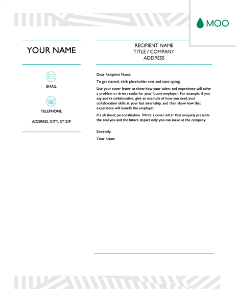 Creative cover letter, designed by MOO - Office Templates