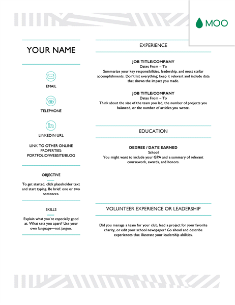 Creative Resume, Designed By MOO  Resume Templates Online