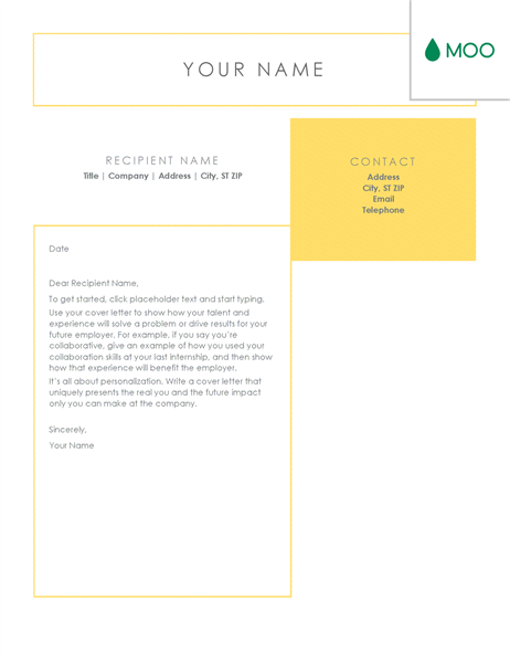 crisp and clean cover letter designed by moo