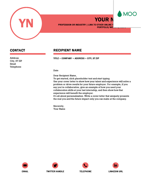 Polished Cover Letter, Designed By MOO  Cover Letter Online