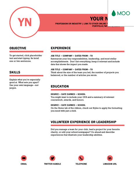 Polished resume, designed by MOO