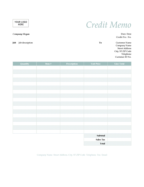 Credit Memo (Simple Blue Design)  Memos Template