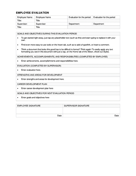 Employee evaluation - Office Templates