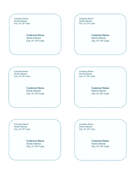 Shipping labels (Blue Background design, 6 per page)