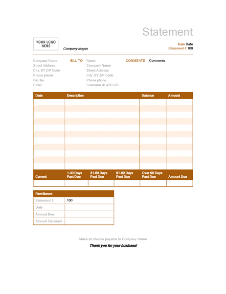 Invoices Office – Business Statement Template