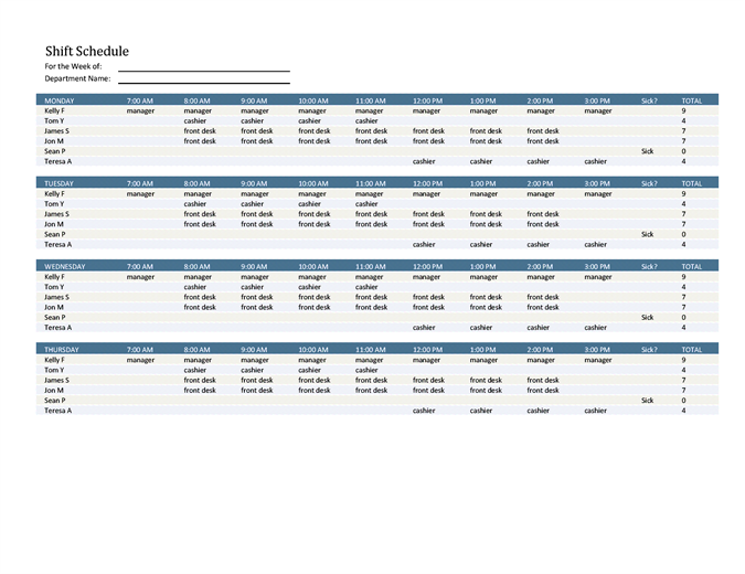 Employee Shift Schedule  Meeting Schedule Template