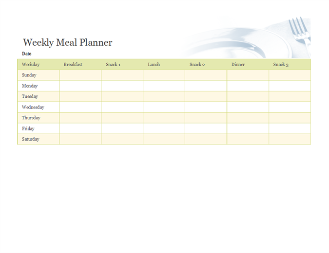 Weekly meal planner Office Templates – Free Menu Planner Template