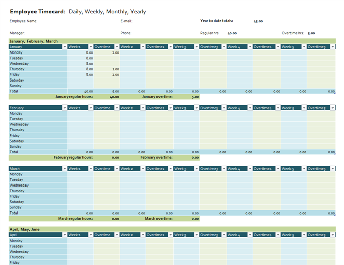 Employee Timecard  Daily Performance Report Format