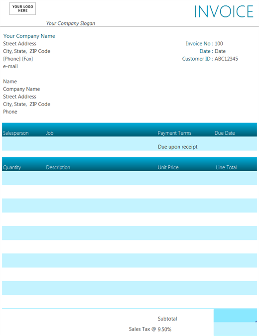 ms excel invoice template