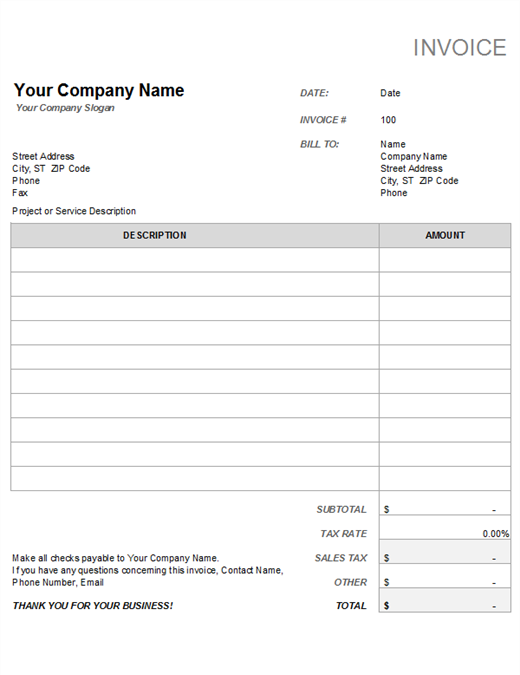 Invoice With Tax Calculation Office Templates - How to do an invoice on excel 99 cent store online