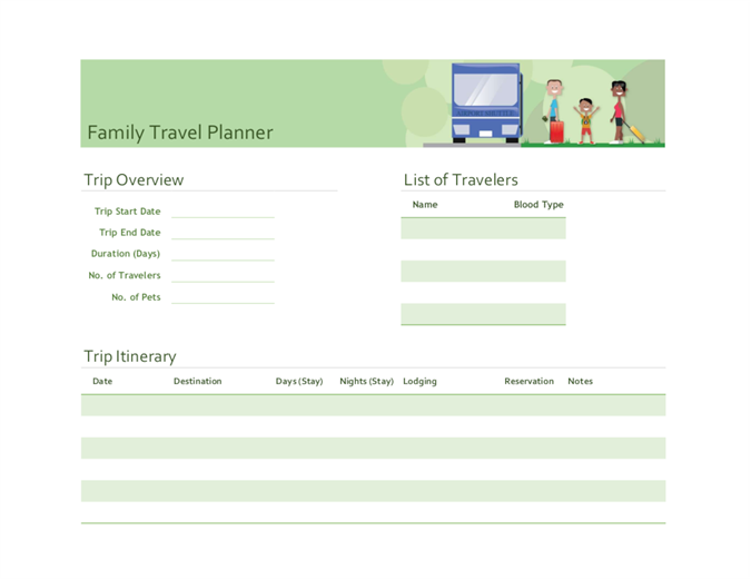 Itineraries for Trip planning itinerary template