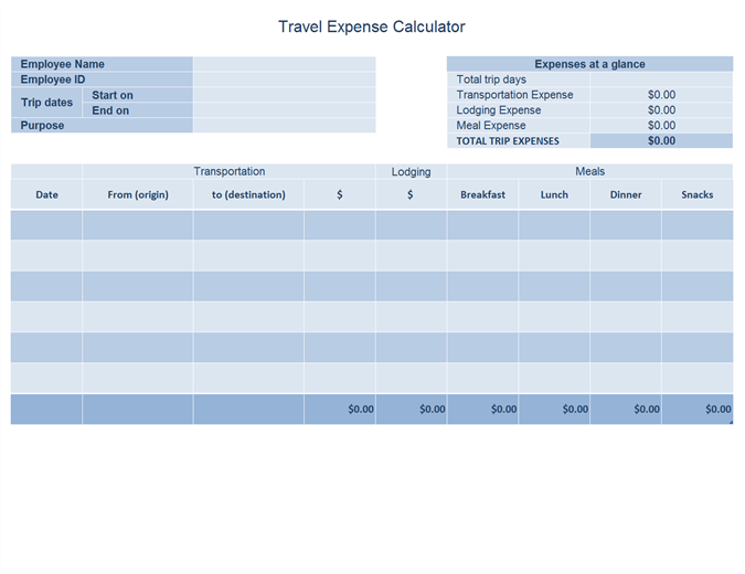 Business travel expense log