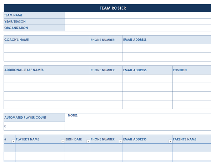 Sports Team Roster  Microsoft Word Template Checklist