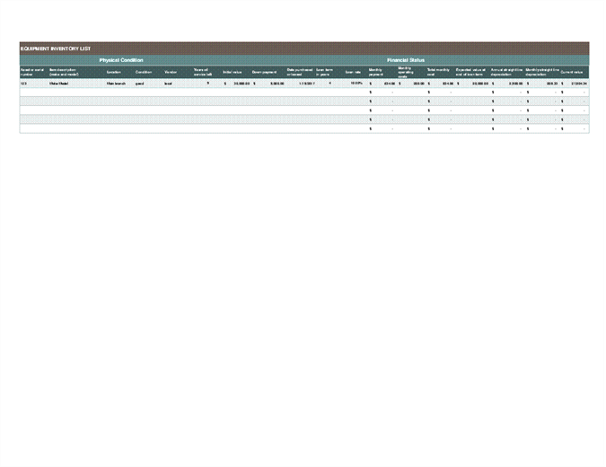Equipment inventory and depreciation schedule - Office Templates