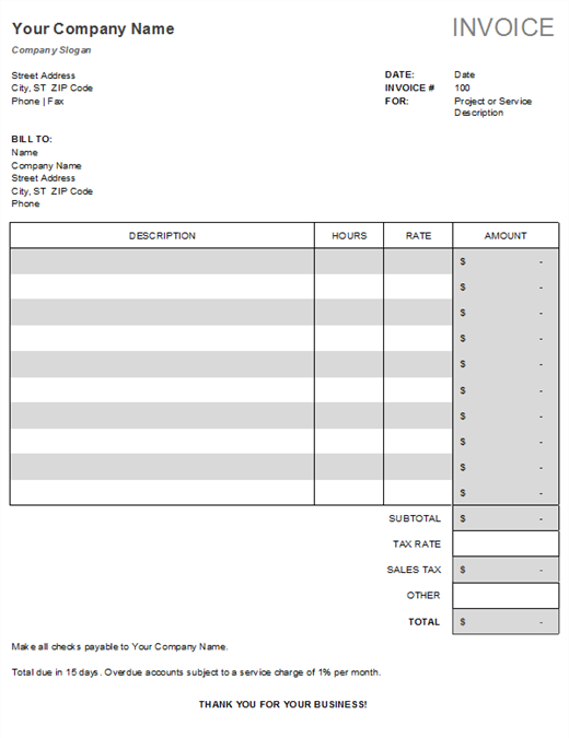 Service Invoice With Tax Calculations  Invoice Template Microsoft